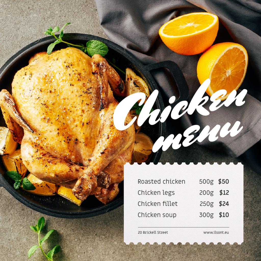 Restaurant Menu Offer Whole Roasted Chicken — Modelo de projeto