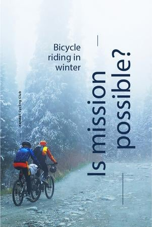 Bicycle riding in winter Pinterest – шаблон для дизайну
