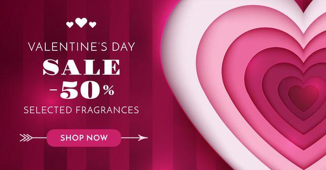 Valentine's Day Heart in Pink Facebook AD Modelo de Design
