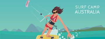 Woman kite surfing