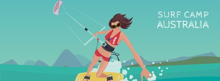 Designvorlage Woman kite surfing für Facebook Video cover