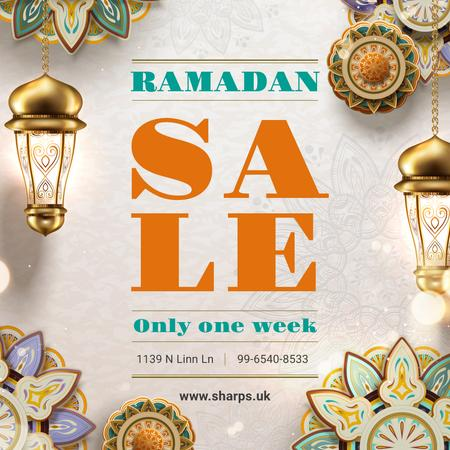Plantilla de diseño de Sale Offer with Ramadan kareem lanterns Instagram