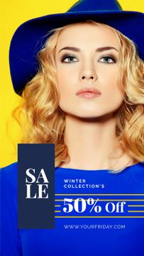 Black Friday Sale Young attractive woman wearing hat
