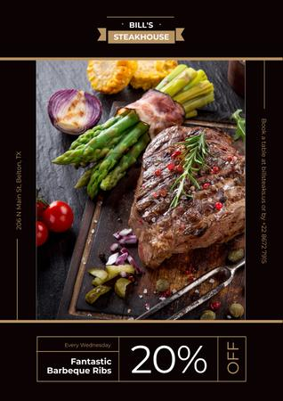 Steak house advertisement Poster Design Template