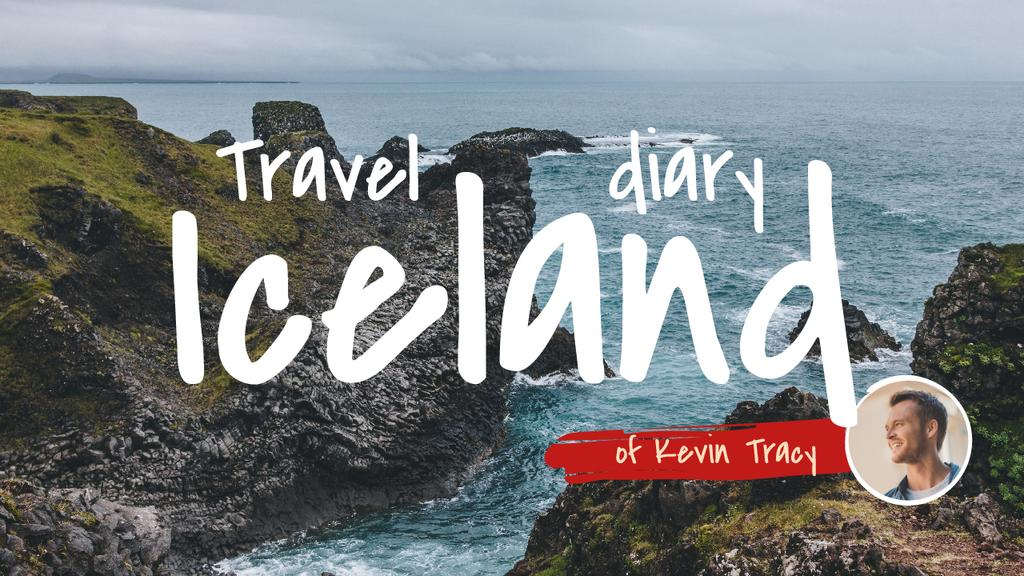 Iceland Travel Diary with Scenic Ocean Landscape Youtube Thumbnail Design Template