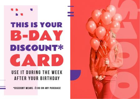 Birthday Discount Girl Holding Balloons in Red Card – шаблон для дизайну