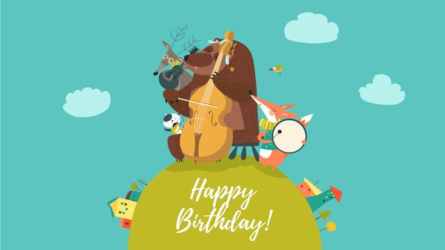 Birthday Greeting Animal Music Band Full HD video Modelo de Design