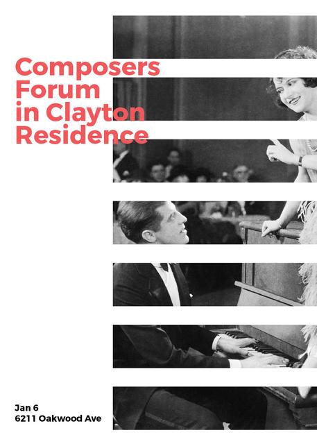Composers Forum Invitation Pianist and Singer Invitation Modelo de Design