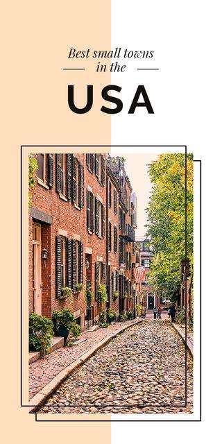 Ontwerpsjabloon van Graphic van Narrow street view in USA