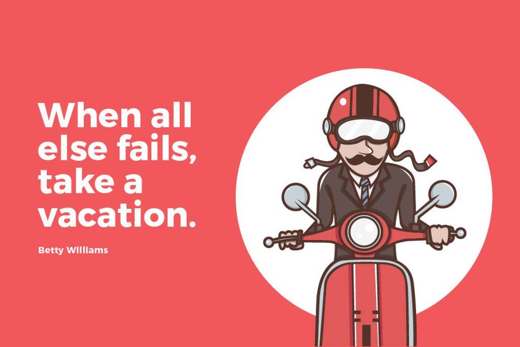 Man going on bike to vacation — Crea un design