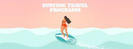 Summer Vacation Offer with Woman on Surfboard Facebook Video cover – шаблон для дизайна