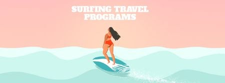 Szablon projektu Summer Vacation Offer with Woman on Surfboard Facebook Video cover
