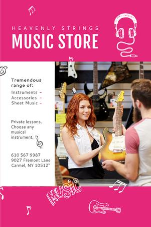 Plantilla de diseño de Music Store Offer with Female Consultant Pinterest