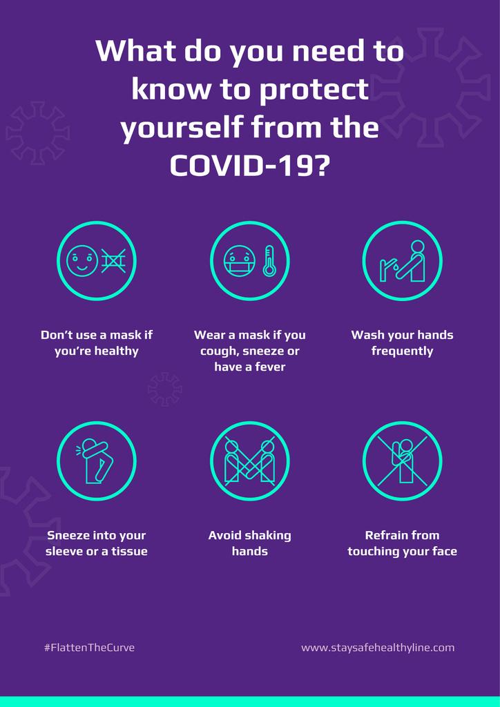 #FlattenTheCurve of Coronavirus with Protective measures instruction — Crear un diseño