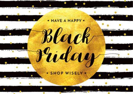 Plantilla de diseño de Black Friday Announcement in Golden Circle Postcard