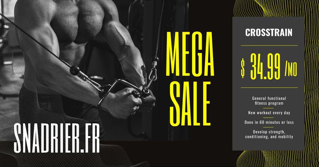 Gym Offer Muscular Man Exercising — Maak een ontwerp