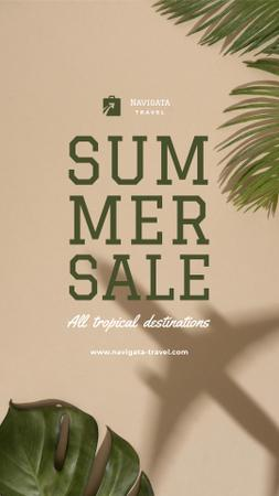 Summer Tour Sale with Palm leaves Instagram Story Modelo de Design