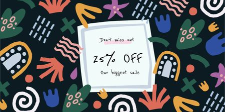 Sale Announcement on colorful Frame Twitter Modelo de Design