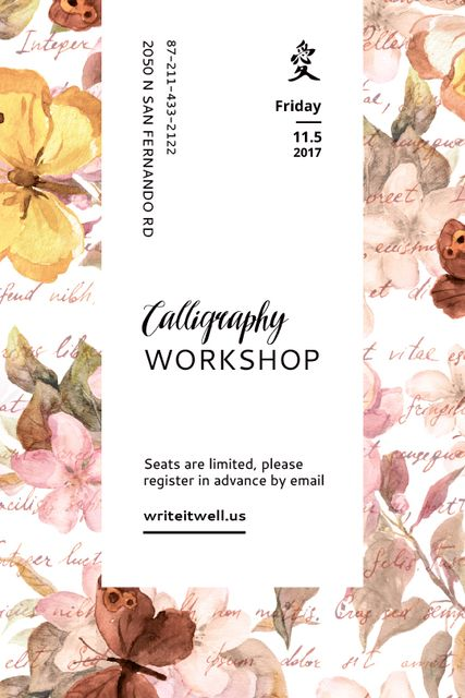 Plantilla de diseño de Calligraphy Workshop Announcement Watercolor Flowers Tumblr