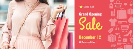 Store Grand Opening Announcement Woman with Shopping Bags Facebook cover Modelo de Design