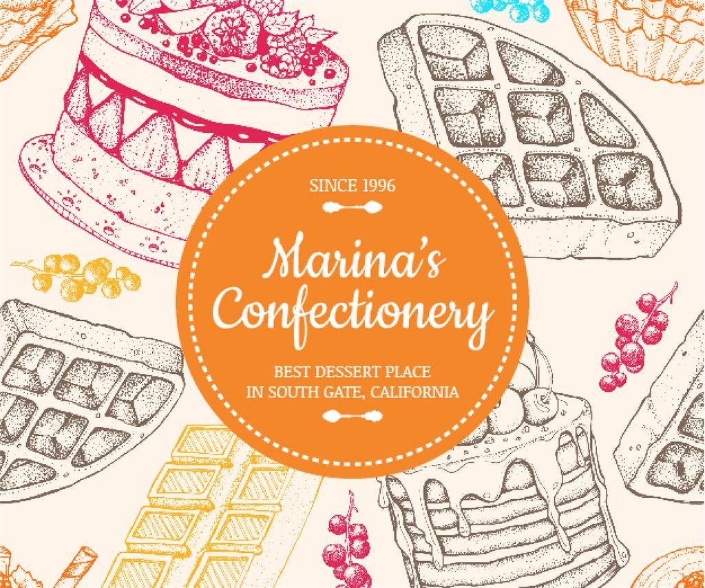 Confectionery Ad Waffles and Cakes Sketches — Créer un visuel