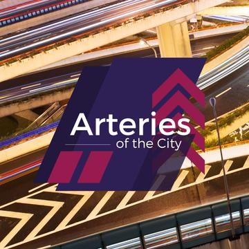 traffic junction with text arteries of the city