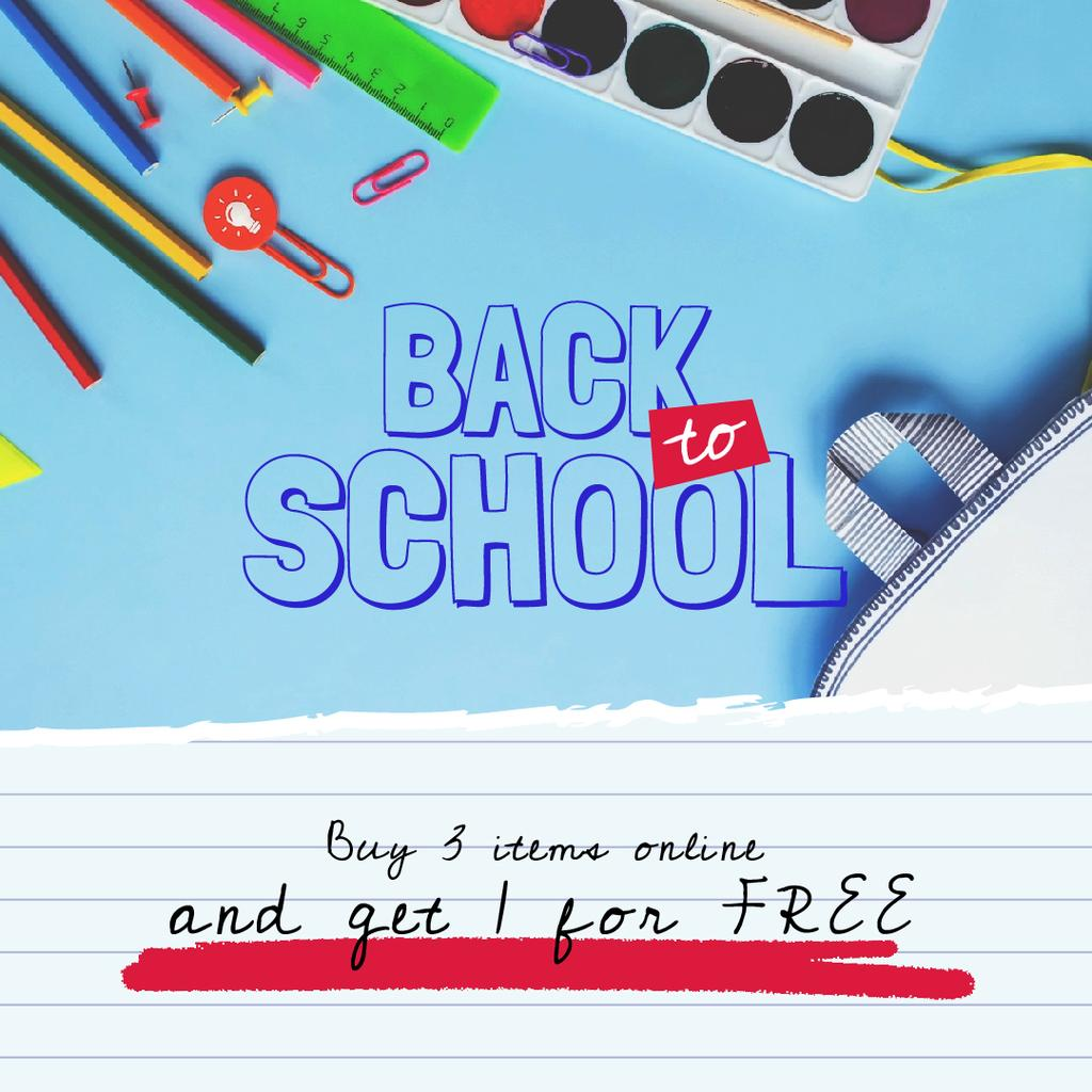 Back to School Sale Stationery in Backpack | Square Video Template — Створити дизайн