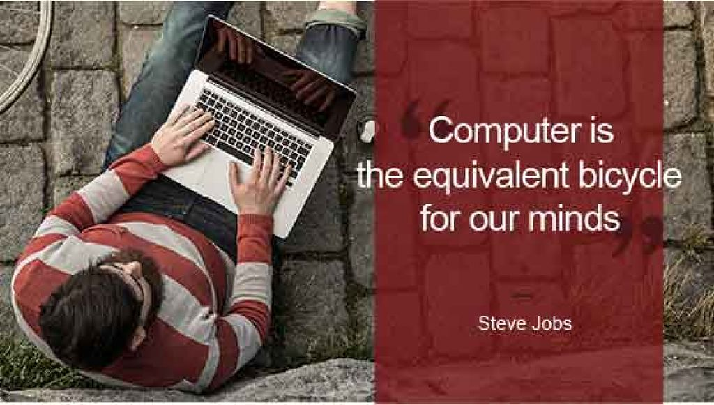 motivational quote with young man using laptop — Modelo de projeto
