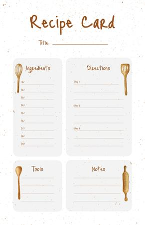 Illustration of Kitchen Tools Recipe Card Modelo de Design