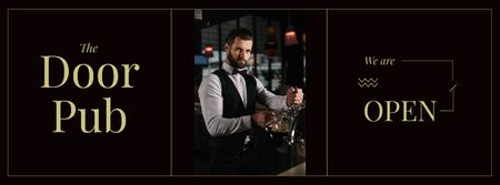 Bartender at pub counter Facebook cover Modelo de Design