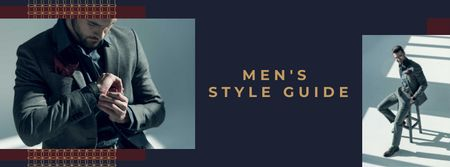 Handsome Man wearing Suit Facebook coverデザインテンプレート