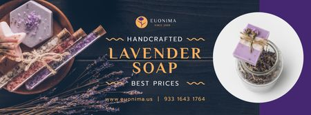 Plantilla de diseño de Natural Handmade Soap Shop Ad Facebook cover