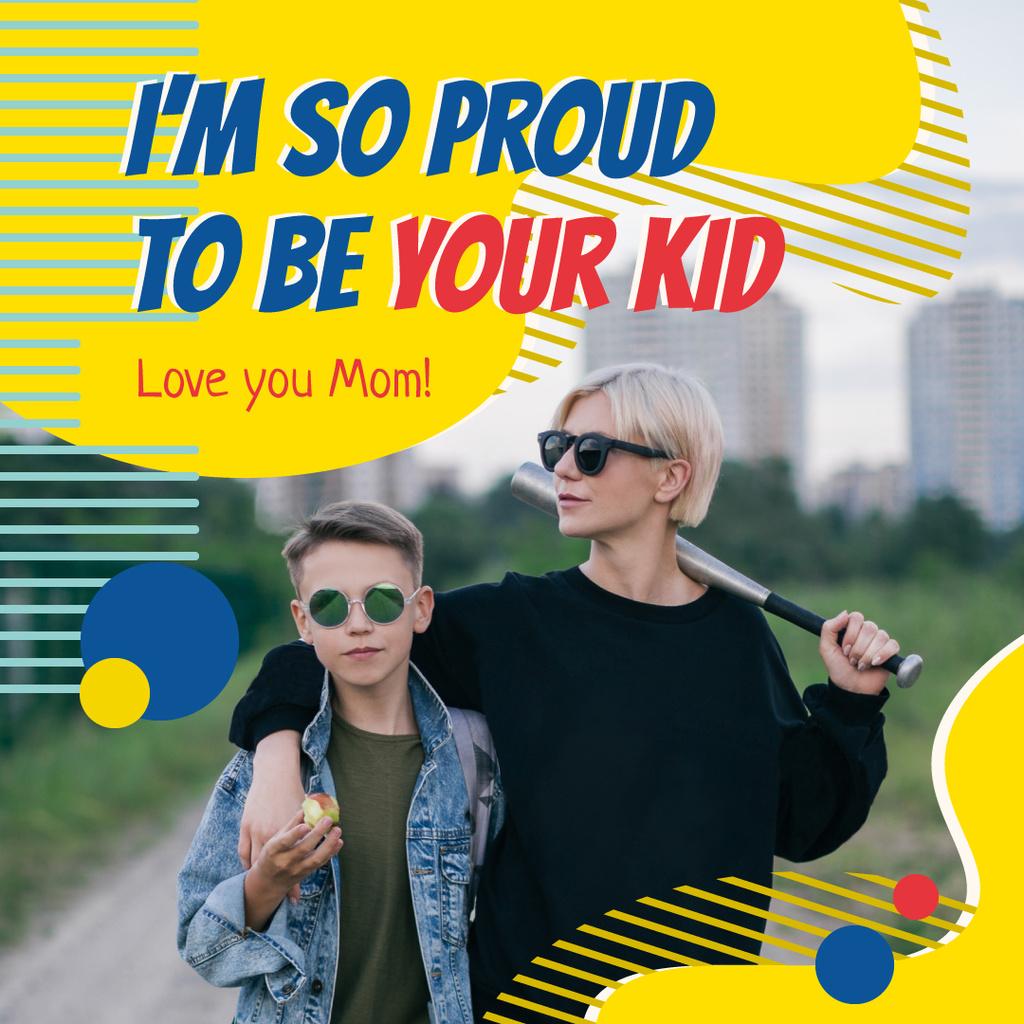 Stylish mother with her son — Crear un diseño