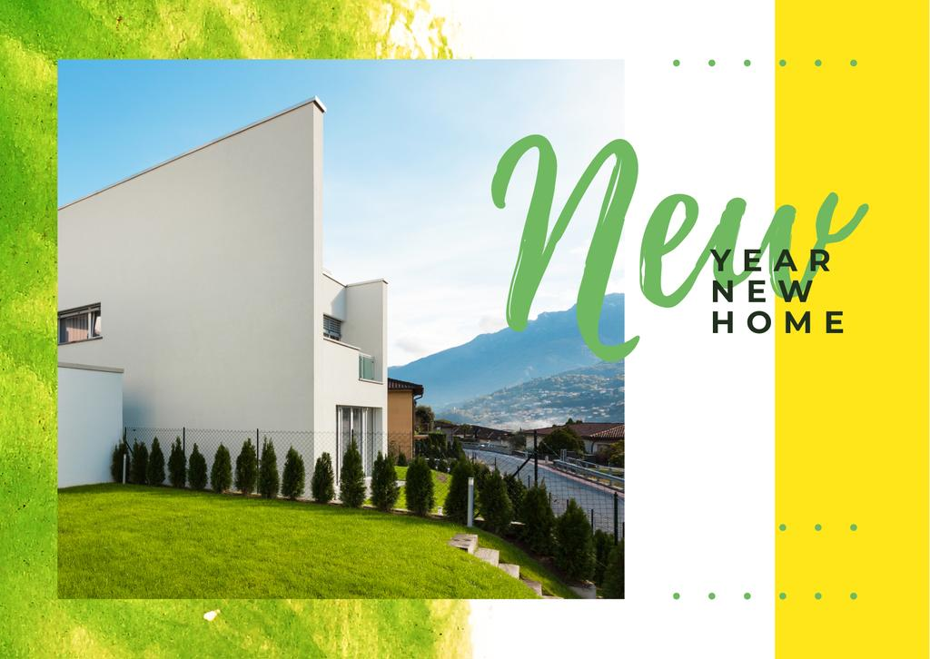 Real Estate Ad with Modern House Facade Postcard Modelo de Design