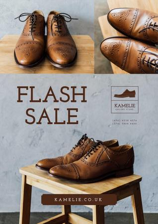 Fashion Sale with Stylish Male Shoes Poster Modelo de Design