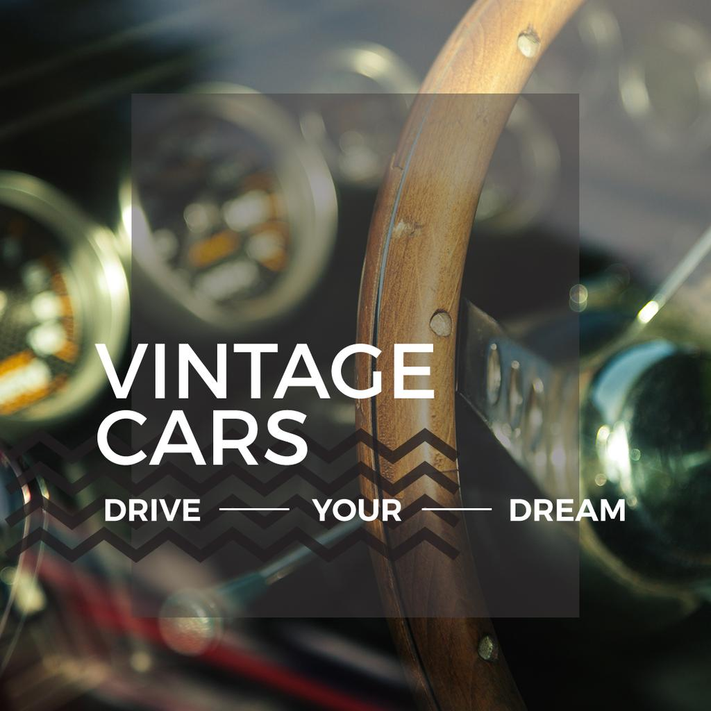 Vintage cars poster with wooden steering wheel — Crear un diseño