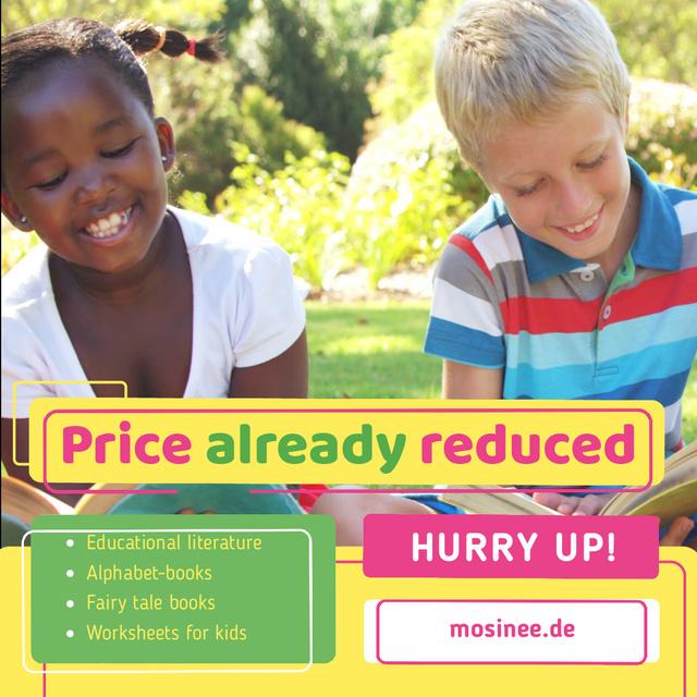School Supplies Sale with Happy Kids Reading Animated Post Modelo de Design