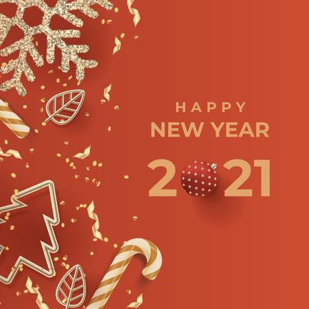 New Year Greeting with Decor in red Instagram Tasarım Şablonu