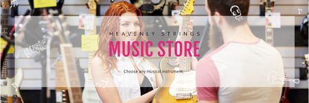 Ontwerpsjabloon van Email header van Music Store Ad with Female Consultant