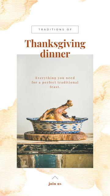 Plantilla de diseño de Thanksgiving Dinner Tradition Roasted Turkey Instagram Story
