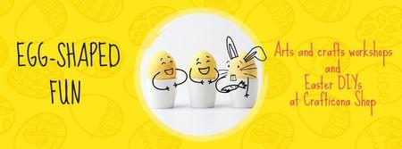 Plantilla de diseño de Greeting Cards Offer with cute Easter Eggs Facebook Video cover