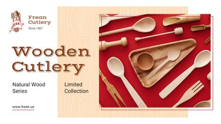 Kitchenware Ad with Wooden Cutlery Set Presentation Wide Modelo de Design