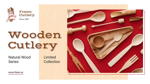Ontwerpsjabloon van Presentation Wide van Kitchenware Ad with Wooden Cutlery Set