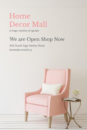 Plantilla de diseño de Furniture Shop Ad with Pink Cozy Armchair Pinterest