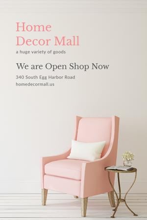 Ontwerpsjabloon van Pinterest van Furniture Shop Ad with Pink Cozy Armchair
