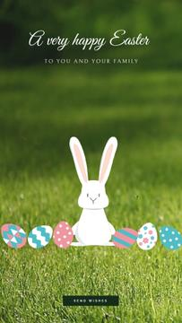 Easter Greeting Cute Bunny Colored Eggs | Vertical Video Template