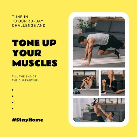 Plantilla de diseño de #StayHome challenge with Man exercising Instagram