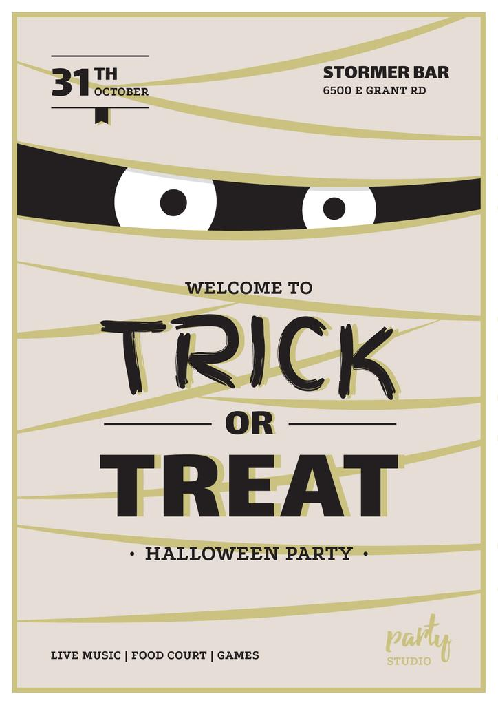 Halloween Party Scary Mummy | Invitation Template — Створити дизайн
