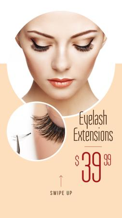 Eyelash Extensions Offer with Tender Woman Instagram Story Modelo de Design