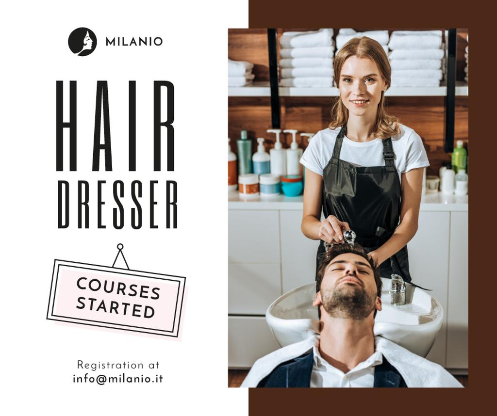 Hairdressing Courses Ad Stylist with Client in Salon — ein Design erstellen